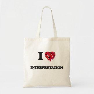 Amo la interpretación bolsa tela barata