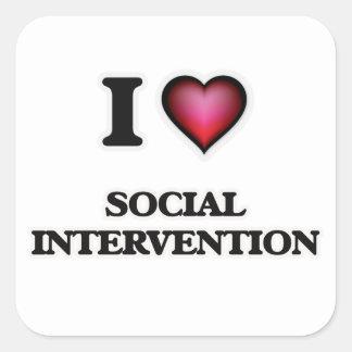 Amo la intervención social pegatina cuadrada