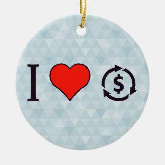 Amo la inversión observada adorno navideño redondo de cerámica