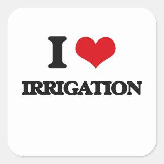 Amo la irrigación pegatina cuadrada