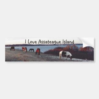 Amo la isla de Assateague - pegatina para el parac Pegatina Para Auto