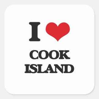Amo la isla de cocinero pegatina cuadrada