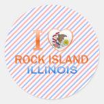 Amo la isla de la roca, IL Etiquetas Redondas