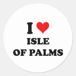Amo la isla de las palmas Carolina del Sur Etiquetas Redondas