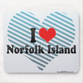 Amo la isla de Norfolk Tapetes De Ratón