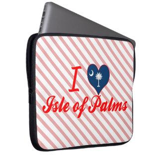 Amo la isla de palmas, Carolina del Sur Funda Computadora