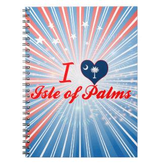 Amo la isla de palmas, Carolina del Sur Libro De Apuntes Con Espiral