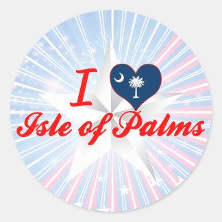 Amo la isla de palmas, Carolina del Sur Pegatinas Redondas