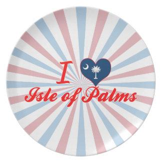Amo la isla de palmas, Carolina del Sur Platos Para Fiestas