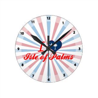 Amo la isla de palmas, Carolina del Sur Reloj De Pared