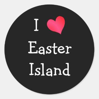 Amo la isla de pascua pegatina redonda
