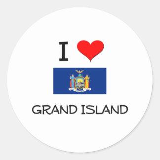 Amo la isla magnífica Nueva York Pegatina Redonda
