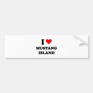 Amo la isla Tejas del mustango Etiqueta De Parachoque