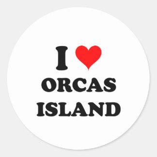 Amo la isla Washington de las orcas Pegatina Redonda
