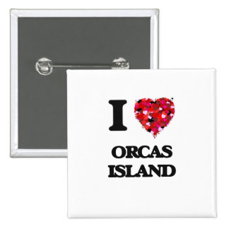Amo la isla Washington de las orcas Pin Cuadrado