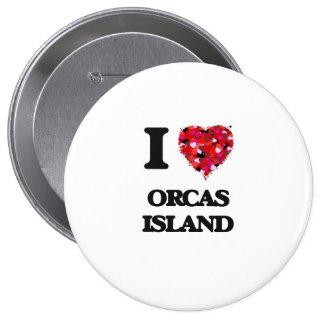 Amo la isla Washington de las orcas Pin Redondo De 4 Pulgadas