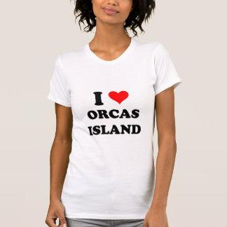 Amo la isla Washington de las orcas Playera