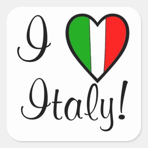 Amo la Italia-Bandera del Italia-Corazón Colcomanias Cuadradas Personalizadas