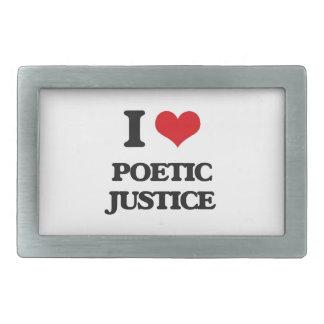 Amo la justicia poética hebillas de cinturón rectangulares