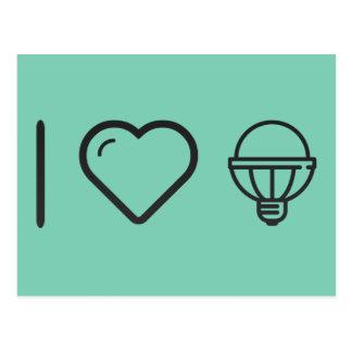 Amo la lámpara tarjeta postal