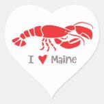 Amo la langosta de Maine Pegatina En Forma De Corazón