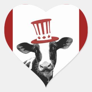 Amo la leche canadiense o los productos lácteos calcomanías de corazones personalizadas