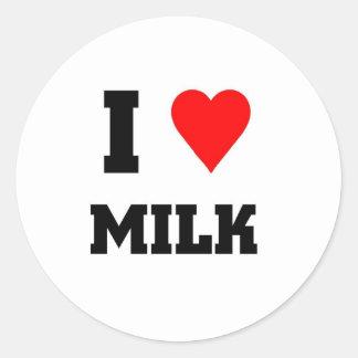 Amo la leche pegatina redonda