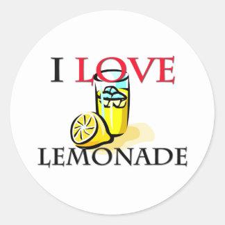 Amo la limonada etiqueta redonda