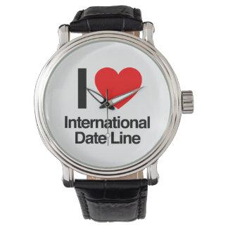 amo la línea de fecha internacional relojes de pulsera