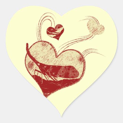 Amo la linterna vuelo pegatina en forma de corazón