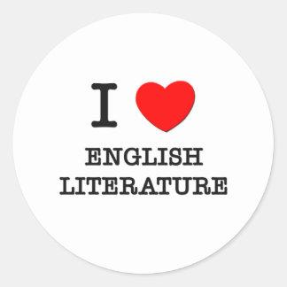 Amo la literatura inglesa pegatinas redondas