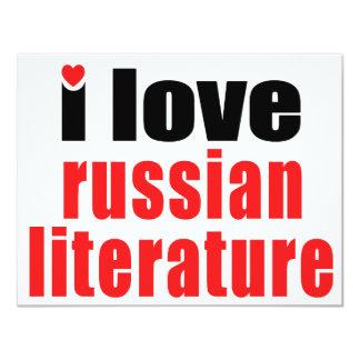 """Amo la literatura rusa invitación 4.25"""" x 5.5"""""""