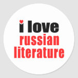 Amo la literatura rusa pegatinas redondas