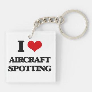 Amo la localización de los aviones llavero cuadrado acrílico a doble cara