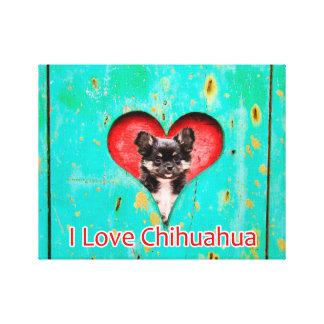 Amo la lona 14 x 11 del perro de la chihuahua impresion de lienzo