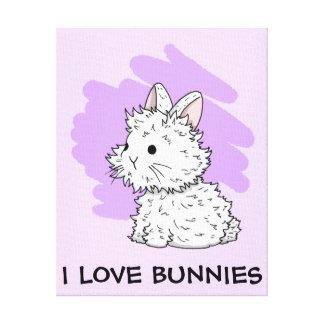 Amo la lona envuelta los conejitos - lila impresión en tela