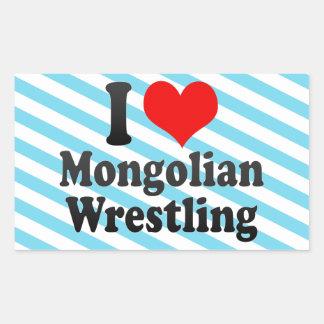 Amo la lucha mongol pegatina rectangular