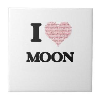 Amo la luna azulejo cuadrado pequeño