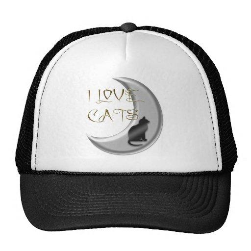 Amo la luna de plata de los gatos gorro