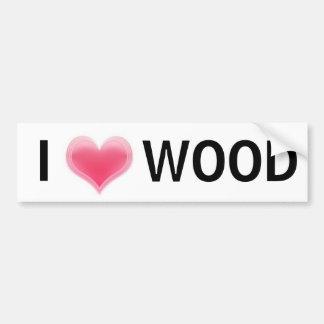 Amo la madera pegatina de parachoque