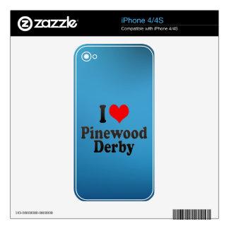 Amo la madera de pino Derby Skins Para eliPhone 4S
