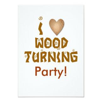 """Amo la madera que da vuelta al corazón de madera invitación 5"""" x 7"""""""