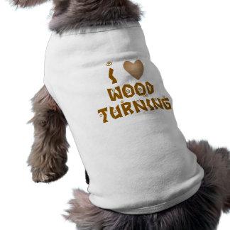 Amo la madera que da vuelta al corazón de madera camisas de mascota