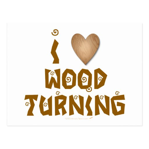 Amo la madera que da vuelta al corazón de madera postales