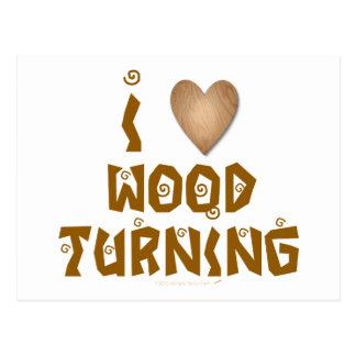Amo la madera que da vuelta al corazón de madera tarjetas postales