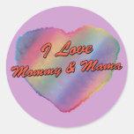 Amo la mamá y a la mamá pegatinas redondas