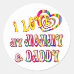 Amo la mamá y al papá pegatinas redondas