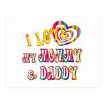 Amo la mamá y al papá postales