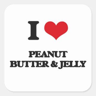Amo la mantequilla y la jalea de cacahuete pegatinas cuadradas personalizadas