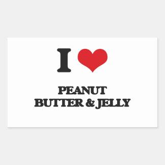 Amo la mantequilla y la jalea de cacahuete rectangular pegatina